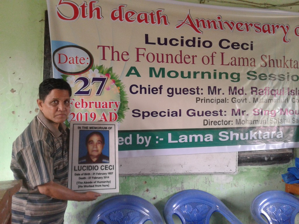 La celebrazione organizzata per il 5° anniversario della morte di Lucidio con l'apposizione della piccola lapide in sua memoria nella stanza che era stata il suo quartier generale
