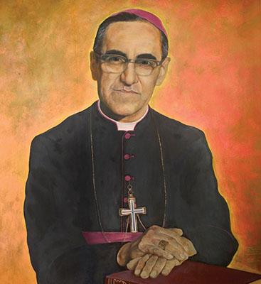 Painting of Salvadoran Archbishop Oscar Romero in Cathedral of San Salvador